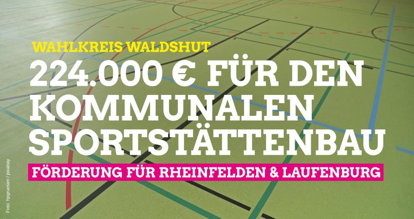 Land unterstützt kommunalen Sportstättenbau im Wahlkreis Waldshut