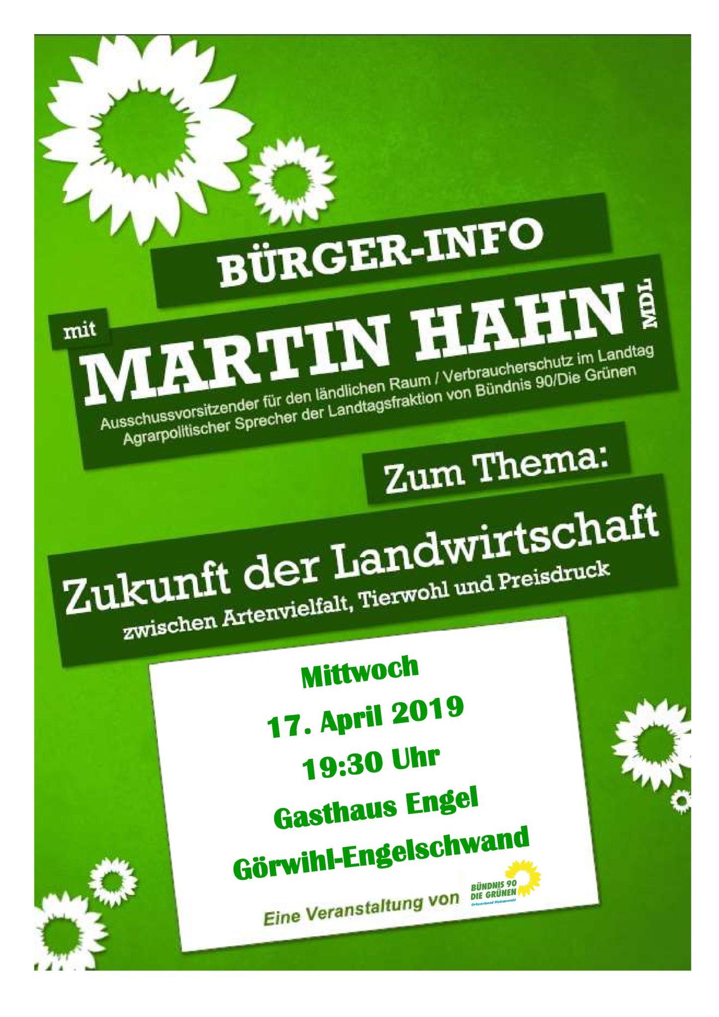 Bürger-Information mit Martin Hahn am 24. April 2019 um 20:00 Uhr Hohentengen/Lienheim